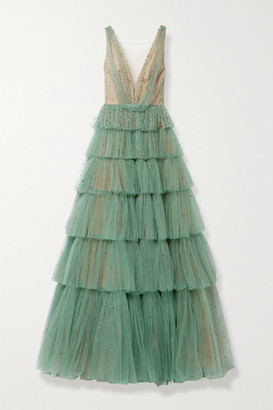Marchesa Tiered Crystal-embellished Tulle Gown - Gray green