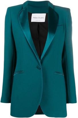 Hebe Studio Cady satin-trimmed blazer