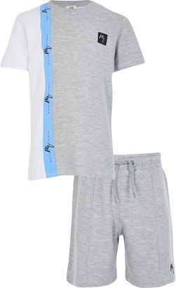 Maison Riviera River Island Boys Grey blocked t-shirt outfit