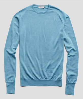 John Smedley Sweaters Easy Fit Crewneck Merino Sweater in Glimpse Blue