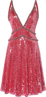 Jenny Packham V-Neck Sequined Mini Dress