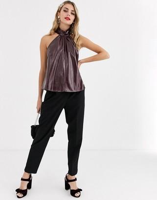 Skylar Rose high neck halter top in faux leather