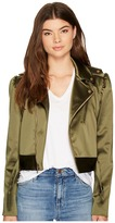 Nicole Miller Luxe Satin Moto Jacket Women's Coat