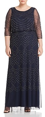 Adrianna Papell Plus Beaded Mesh Detail Maxi Dress