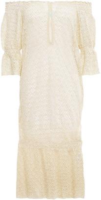 Melissa Odabash Flo Off-the-shoulder Cutout Metallic Crochet-knit Coverup