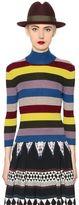 Antonio Marras Ribbed Striped Wool High Collar Sweater