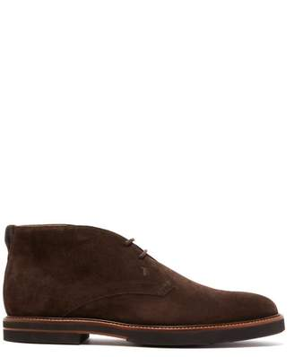 Tod's Polacco Suede Desert Boots - Mens - Dark Brown