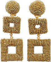 Oscar de la Renta Double Square Beaded Earrings