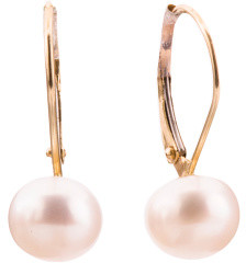 Made In Usa 14k Gold 8mm Pearl Lever Back Earrings
