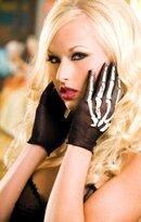 Sky Hosiery Black Fishnet Gloves with Skeleton Print