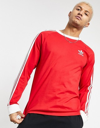 adidas 3-Stripes long sleeve T-shirt in red