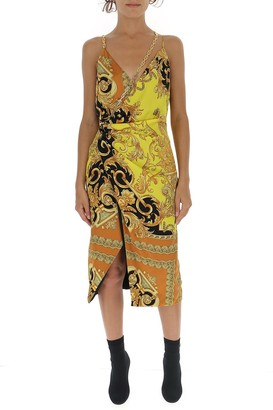 Versace Draped Baroque Printed Dress
