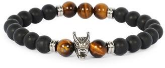 Jean Claude Stainless Steel & Black Onyx Beaded Stretchable Bracelet