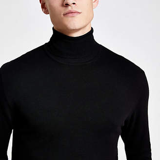 River Island Black slim fit roll neck jumper