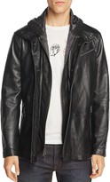 John Varvatos Leather Hooded Parka