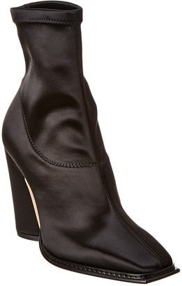 Jimmy Choo Mica 100 Squared Toe Satin Bootie