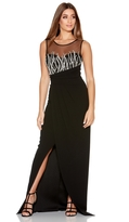 Quiz Black And Silver Woven Mesh Maxi Dress