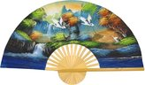 Oriental Furniture Asian Art, Decor and Gifts, 40-Inch Hand Painted Thai Silk and Bamboo Decorative Wall Fan, Flying Cranes