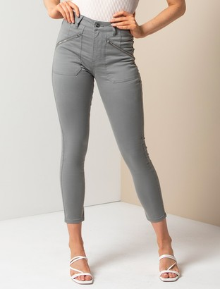 Forever New Leah Mid-Rise Cargo Jeans - Olive Sateen - 10