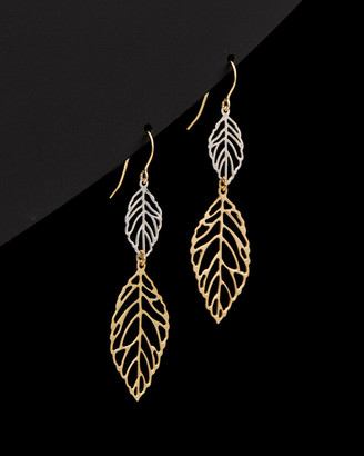Italian Gold Fremada 14K Two-Tone Leaves Dangle Earrings