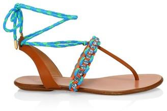 Aquazzura Surf Woven Flat Sandals