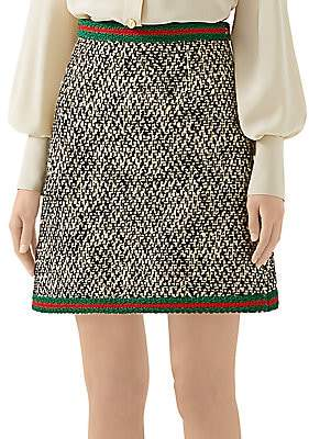 Gucci Women's Tweed A-Line Mini Skirt