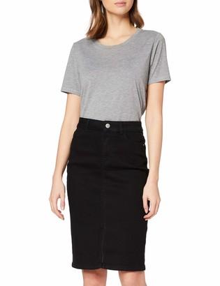 Dorothy Perkins Women's Black Denim Midi Skirt 6