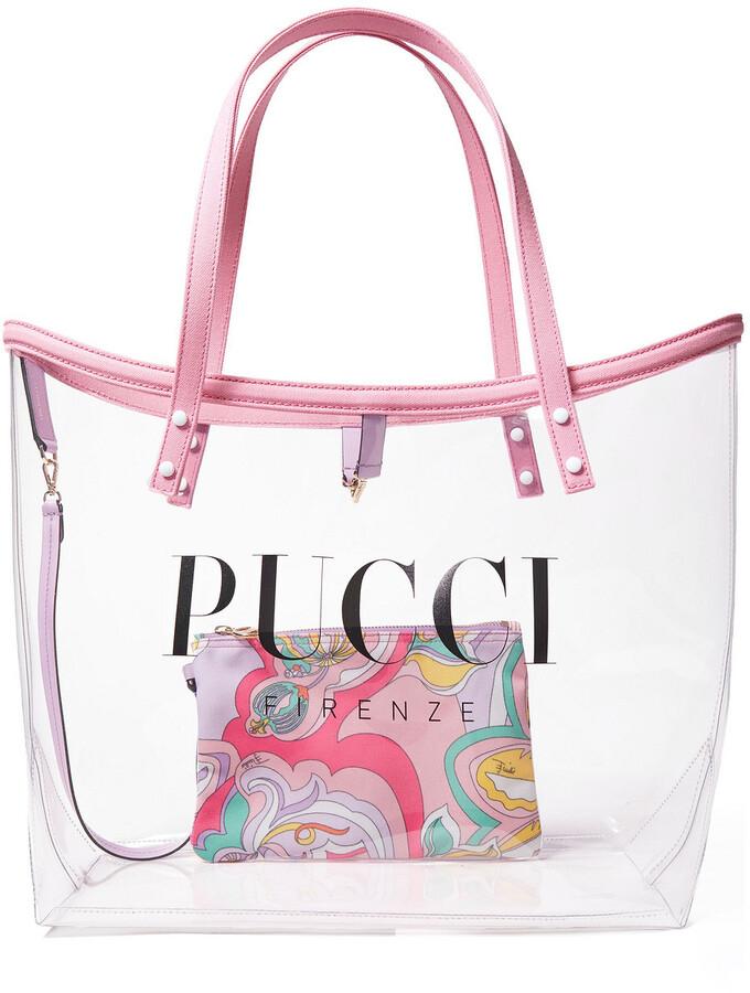 Emilio Pucci Twist Leather-trimmed Logo-print Pvc Tote
