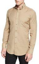 Tom Ford Tailored-Fit Cotton-Cashmere Shirt, Khaki