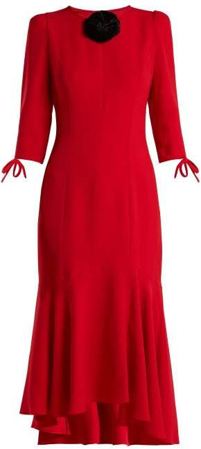 Andrew Gn Flower Applique Crepe Midi Dress - Womens - Red