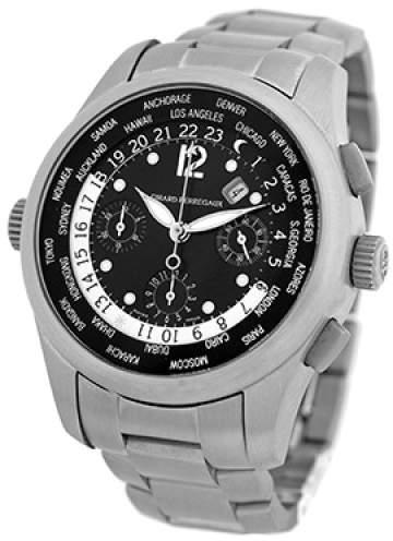 "Girard Perregaux World Timer"" 49800.T.21.6546 Titanium Black Dial Automatic 42mm Mens Watch"