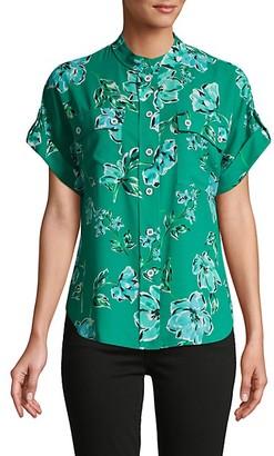 Karl Lagerfeld Paris Floral-Print Camp Shirt