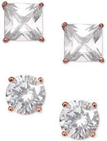 Giani Bernini 2-Pc. Set Cubic Zirconia Stud Earrings in Rose Gold-Plated Sterling Silver, Created for Macy's