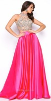 Mac Duggal Two Piece Beaded Illusion Satin Prom Dress