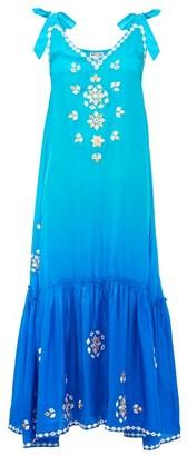 Juliet Dunn Ombre Mirror-embroidered Silk Maxi Dress - Blue Multi