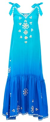 Juliet Dunn Ombre Mirror-embroidered Silk Maxi Dress - Womens - Blue Multi