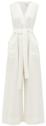 Aje Salt Lake Wide-leg Linen Jumpsuit - Womens - White