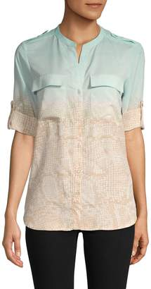Calvin Klein Collection Ombre Roll-Tab Sleeve Shirt