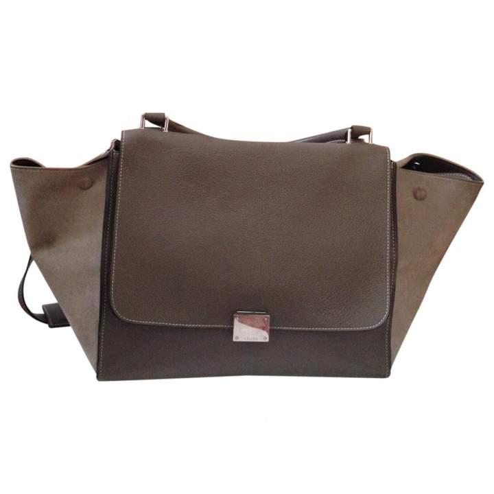 Celine Khaki Leather Handbag Trapèze