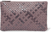 Bottega Veneta Intrecciato Leather And Snake Clutch - Purple