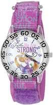 Disney Girl's 'Rapunzel' Quartz Plastic and Nylon Automatic Watch, Color:Purple (Model: W002970)