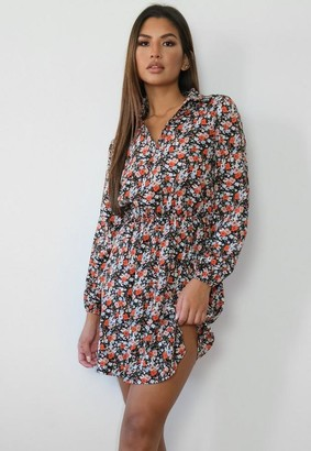 Missguided Petite Black Floral Shirt Dress