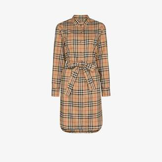 Burberry Womens Brown Vintage Check Tie-waist Shirt Dress