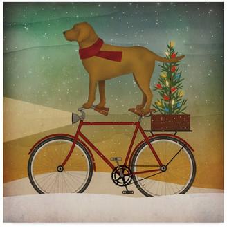 Trademark Fine Art Ryan Fowler 'Yellow Lab On Bike Christmas' Canvas Art