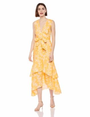 Keepsake Women's Fallen Sleeveless Plunging HI-LO Flowy MIDI Dress