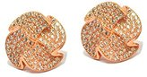 Babette Wasserman Women's 18ct Rose Gold Plated Sterling Silver Round Clear Cubic Zirconia Jagged Rose Earrings