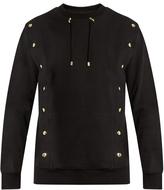 Balmain Crew-neck drawstring-collar cotton sweatshirt