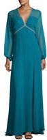 Jenny Packham Beaded-Trim Slit-Sleeve V-Neck Gown, Emerald