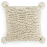 Closeout! Martha Stewart Collection Basketweave Pom Pom Decorative Pillow, Only at Macy's Bedding