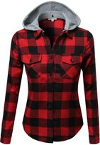 Awesome21 Super Soft Plaid Checker Detachable Hood Flannel Red Size M
